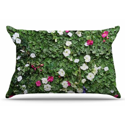 Green Flower Vine Wall by Susan Sanders Pillow Sham Size: King
