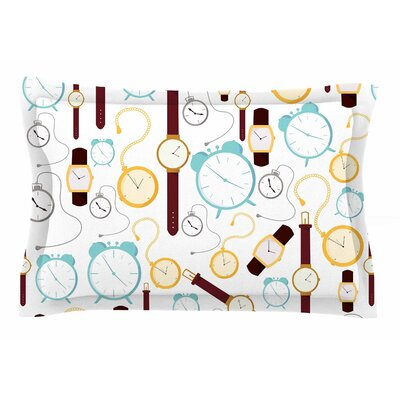 Clocks by Stephanie Vaeth Pillow Sham Size: Queen