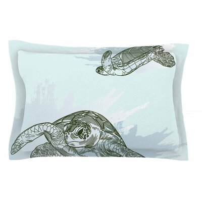 Sea Turtles by Sam Posnick Pillow Sham Size: Queen