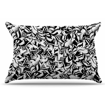 Monochrome Leaves Mosaic by Victoria Krupp Pillow Sham Size: King