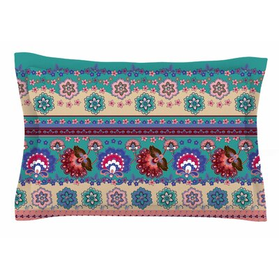 Folkloric Flowers Border by Victoria Krupp Pillow Sham Size: Queen
