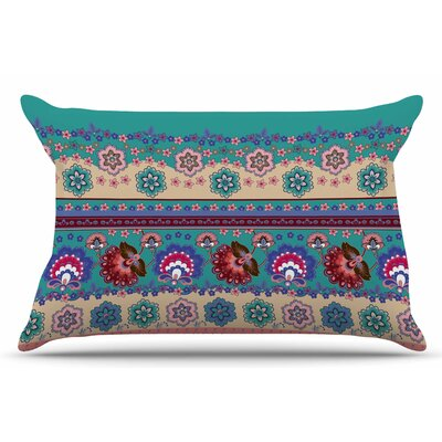 Folkloric Flowers Border by Victoria Krupp Pillow Sham Size: King