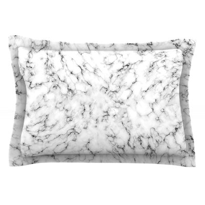 Marble by Will Wild Pillow Sham Size: Queen, Color: White/Gray