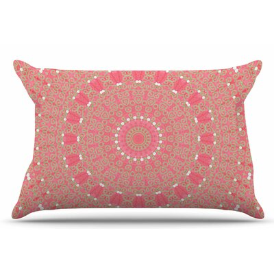 Boho Hearts Coral by Sylvia Cook Pillow Sham Size: King