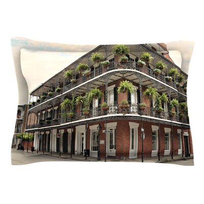 New Orleans Street Corner by Sylvia Cook Pillow Sham Size: Queen