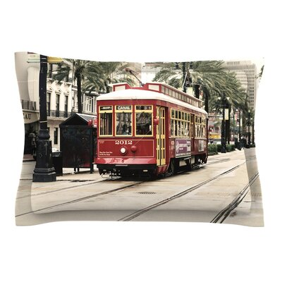 Canal Street Car by Sylvia Cook Pillow Sham Size: Queen