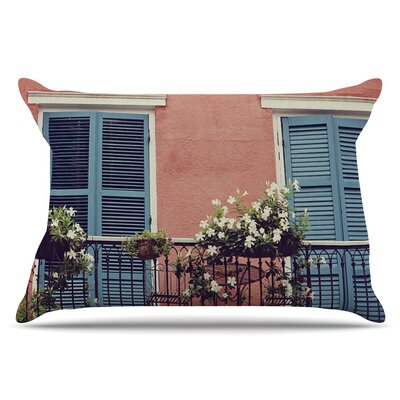 New Orleans Balcony by Sylvia Cook Pillow Sham Size: King