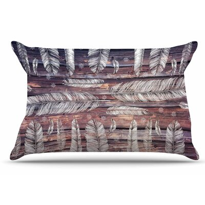 Snowflakes and Feathers by Suzanne Carter Pillow Sham Size: King