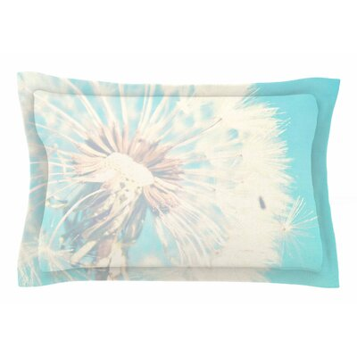 Aqua Dandelion by Sylvia Coomes Pillow Sham Size: Queen