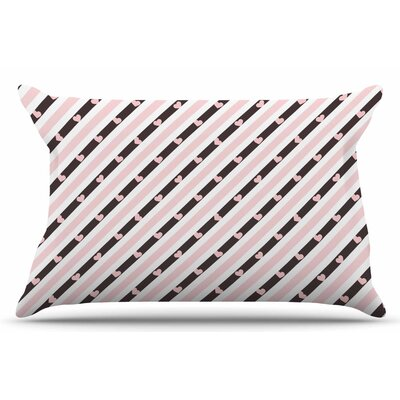 Pastel Stripe Heart by Vasare Nar Pillow Sham Size: King