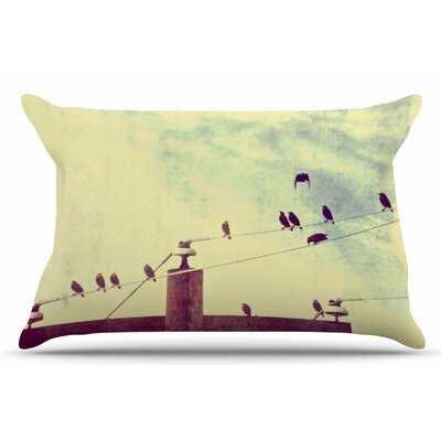 Vintage Birds on a Wire 1 by Sylvia Coomes Pillow Sham Size: King