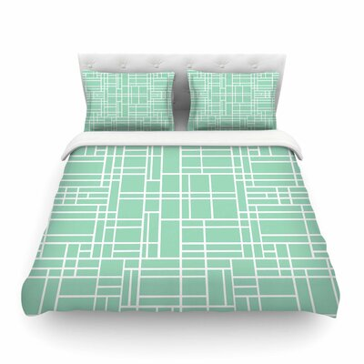 Map Outline by Project M Geometric Lines Featherweight Duvet Cover Color: Mint, Size: King