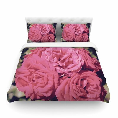 Blush Blooming Roses by Susan Sanders Floral Featherweight Duvet Cover Size: King