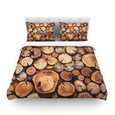 Rustic Wood Logs by Susan Sanders Featherweight Duvet Cover Size: King