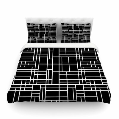 Map Outline by Project M Geometric Lines Featherweight Duvet Cover Size: Queen, Color: Black