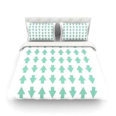 Arrows Up and Down by Project M Featherweight Duvet Cover Size: Twin, Color: White/Mint