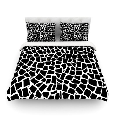 British Mosaic by Project M Featherweight Duvet Cover Size: King, Color: Black