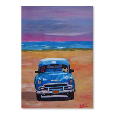 Magnificient Blue Oldtimer in Cuba at Beach Painting USSC7550 33589754