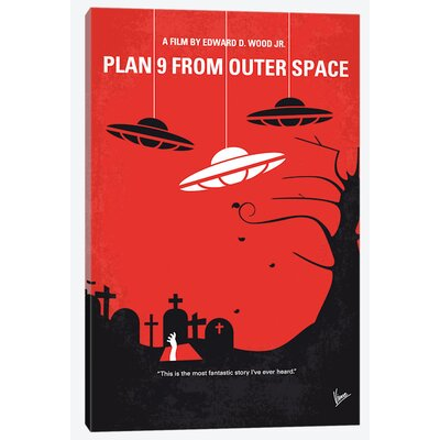 "Plan 9 from Outer Space Minimal Movie Poster Vintage Advertisement on Wrapped Canvas Size: 12"" H x 8"" W x 0.75"" D USSC8238 33595313"