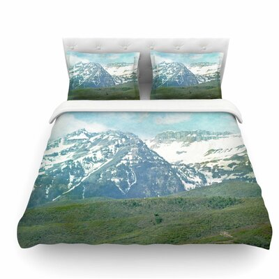 Pastel Mountains by Sylvia Coomes Nature Featherweight Duvet Cover Size: Queen