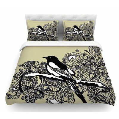 Magpie by Sonal Nathwani Bird Featherweight Duvet Cover Size: Queen