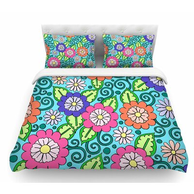 Summer Floral by Sarah Oelerich Flowers Featherweight Duvet Cover Size: Queen