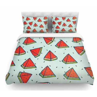 Watermelon Pattern Summer Love by Strawberringo Fruit Food Featherweight Duvet Cover Size: Queen
