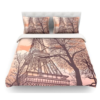 Eiffel Tower by Sam Posnick Featherweight Duvet Cover Size: Queen