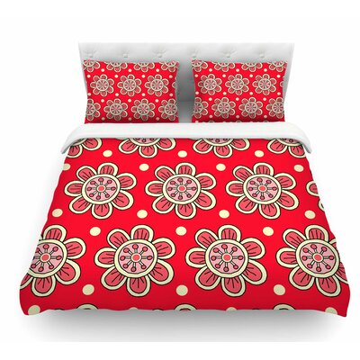 Scarlet Flowers by Sarah Oelerich Floral Featherweight Duvet Cover Size: Queen