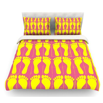 Footprints by Sreetama Ray Featherweight Duvet Cover Size: Queen, Color: Pink/Yellow