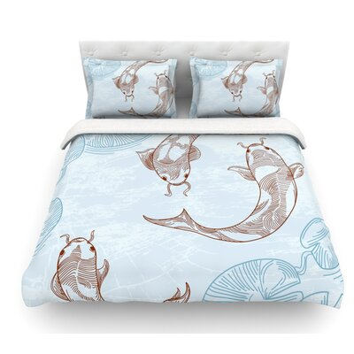 Koi by Sam Posnick Featherweight Duvet Cover Size: Twin