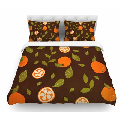 Orange Pattern by Strawberringo Abstract Food Featherweight Duvet Cover Size: Twin