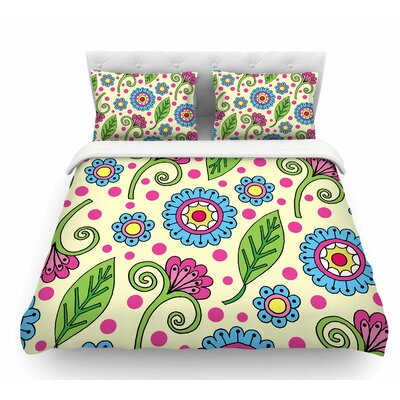 Polka Dot Garden by Sarah Oelerich Floral Featherweight Duvet Cover Size: Twin