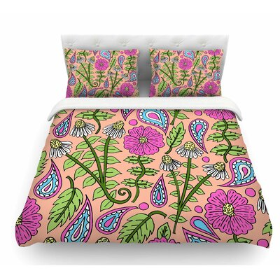 Peach Floral Paisley by Sarah Oelerich Featherweight Duvet Cover Size: Queen