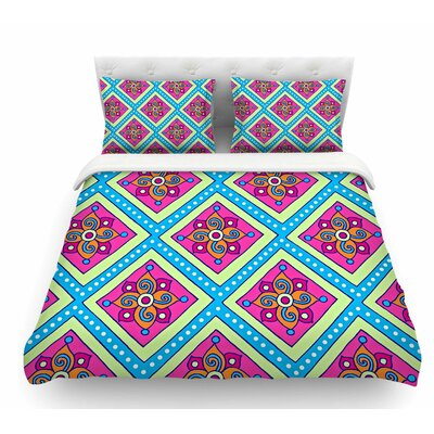 Colorful Diamonds by Sarah Oelerich Featherweight Duvet Cover Size: Queen