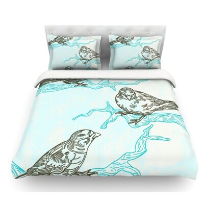 Birds in Trees by Sam Posnick Featherweight Duvet Cover Size: Queen