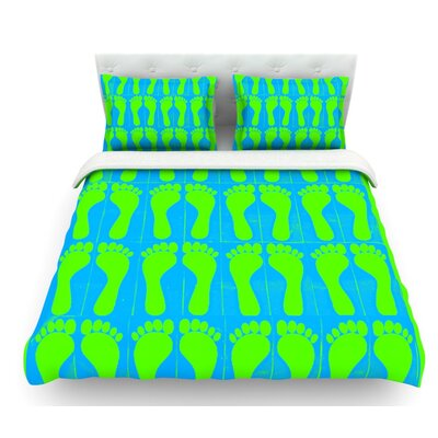Footprints by Sreetama Ray Featherweight Duvet Cover Size: Queen, Color: Aqua/Blue/Green USSC3689 33556927