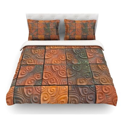 Whimsy Tile by Susan Sanders Rustic Featherweight Duvet Cover Size: King