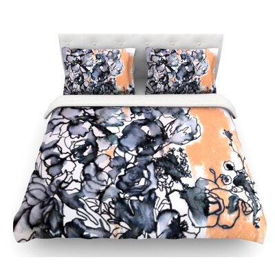 Inky Bouquet by Sonal Nathwani Featherweight Duvet Cover Size: Queen