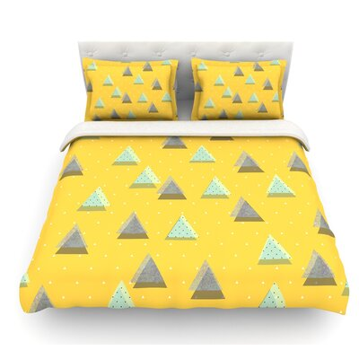 Triangles by Strawberringo Geometric Featherweight Duvet Cover Size: King