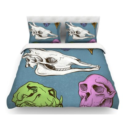 Skulls by Sophy Tuttle Featherweight Duvet Cover Size: Queen
