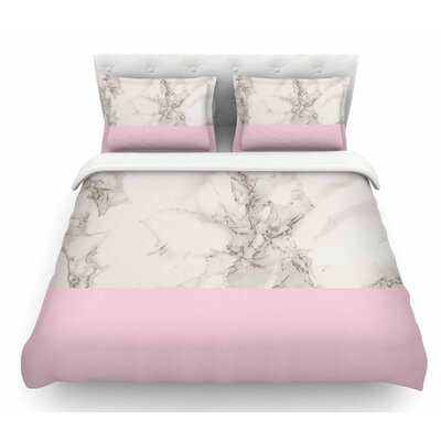 Marble Block by Suzanne Carter Modern Featherweight Duvet Cover Size: Twin, Color: Pink/White