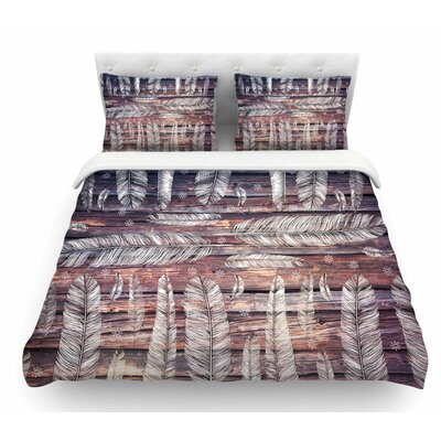 Snowflakes and Feathers by Suzanne Carter Featherweight Duvet Cover Size: Queen