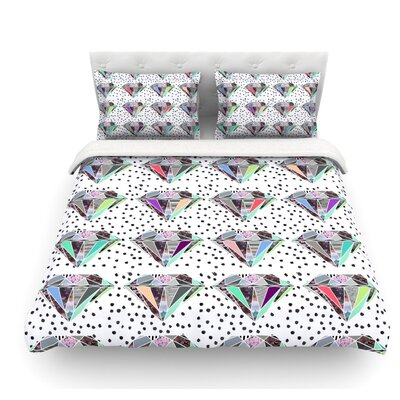 Polka Dot Diamonds by Vasare Nar Rainbow Featherweight Duvet Cover Size: King