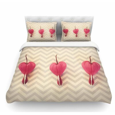 Heart with Chevrons by Robin Dickinson Floral Featherweight Duvet Cover Size: King