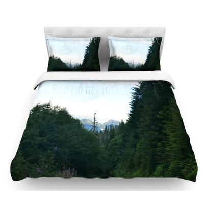 Go Get Lost by Robin Dickinson Forest Featherweight Duvet Cover Size: Queen