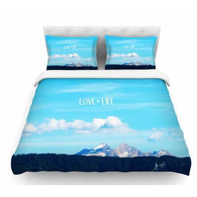 Love Life by Robin Dickinson Sky Featherweight Duvet Cover Size: King