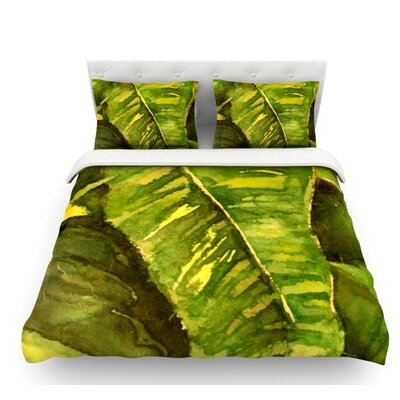 Tropical Garden by Rosie Brown Leaf Featherweight Duvet Cover Size: Queen