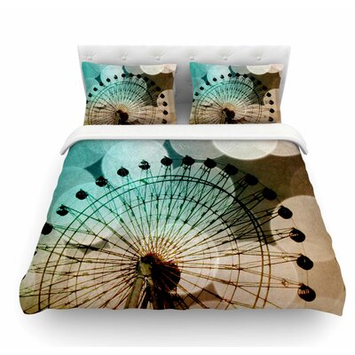 Ferris Wheel Silhouette by Sylvia Coomes Featherweight Duvet Cover Size: Queen, Color: Beige/Teal