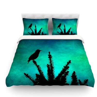 Bird Silhouette by Sylvia Coomes Featherweight Duvet Cover Size: Queen